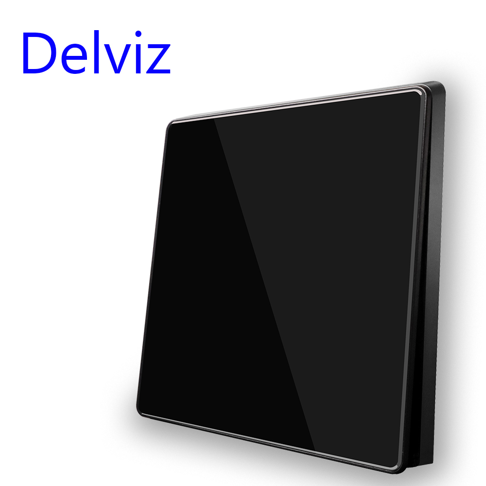 Delviz Wall Light Switch, Black/Gray Acrylic Crystal Panel, 1/2 Gang 2 Way Control, Large panel luxury Full screen button Switch