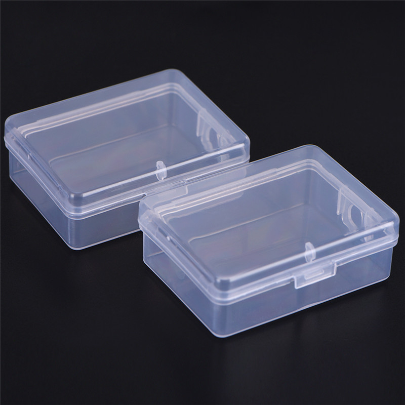 New Women Earrings Rings 2pcs Portable Transparent Flip Jewelry Box Square Plastic Big Storage Box Valentine's Day Gift