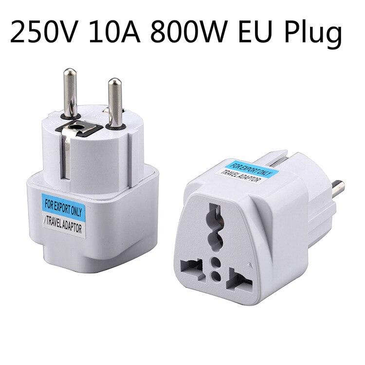 Universal Jack AC 250V 10A 800W EU Plug Two Hole Design Universal Conversion Adapter Converter Socket Portable Outdoors Travel