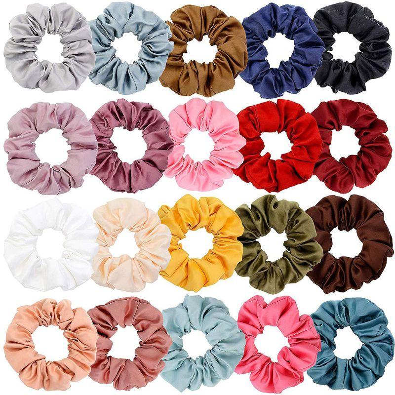 20Pcs Satin Elastic Hair Bands Scrunch Ponytail Holder Scrunchy Hair Ties Women   Headwear   High Quality and Brand New