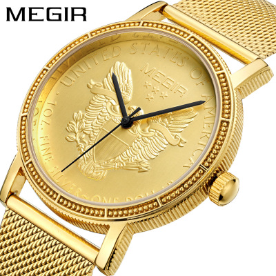 Mens watches top brand luxury Waterproof Gold Dragon Sculpture Quartz Watch Luxury Men Steel Wristwatch