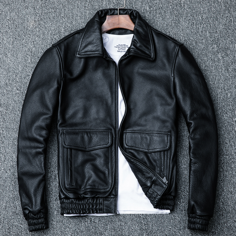 Real Cow Leather Jackets Spring Autumn Genuine Leather Jacket Men Vintage Cowhide Coat Plus Size Motorcycle Jacket 1813 YY972