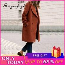 Beigerfayl Autumn Winter Vintage Women Elegant New Overcoat Solid Black Long Woolen Coat Loose Jaqueta Corta Vento Feminina 2883