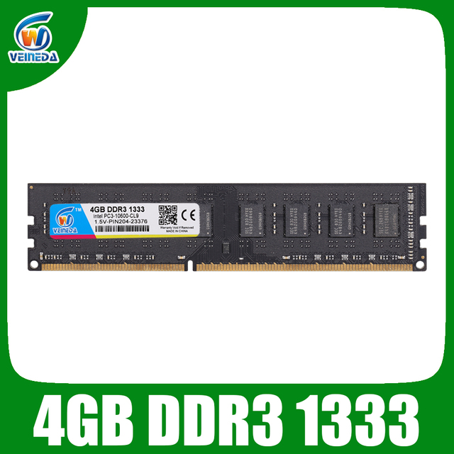 VEINEDA ddr3 4gb ram ddr3-1333 для dimm совместимы со всеми системными платами Intel AMD для настольных ПК PC3-10600