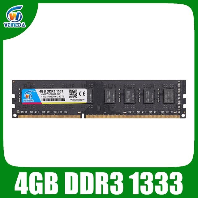 VEINEDA ddr3 4gb ram ddr3-1333 для dimm совместимы со всеми системными платами Intel AMD для настольных ПК PC3-10600
