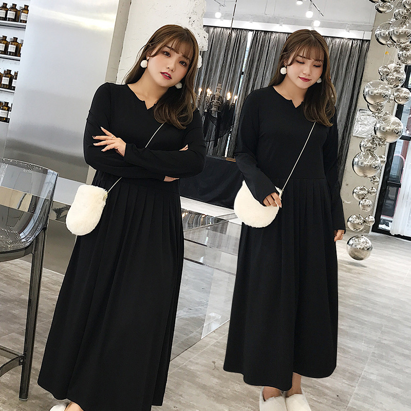 Large Size Dress 200 Chubby Dress Autumn & Winter Fat Mm Western Style Waist Hugging Cover Belly Black Long Skirts 802