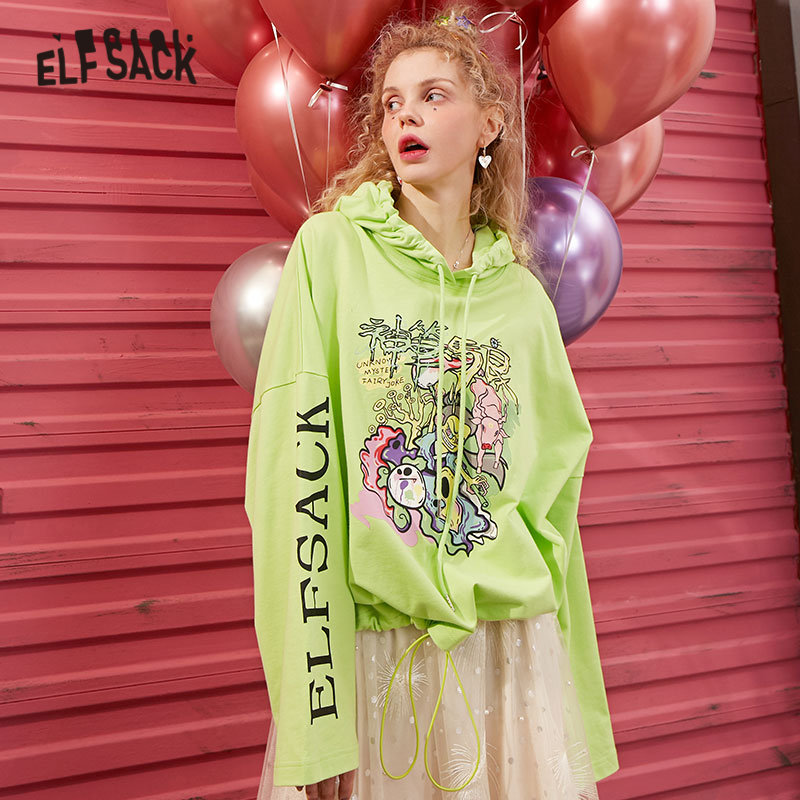 ELFSACK Green Funny Graphic Print Loose Casual Women Hoodies Sweatshirts 2020 Spring White Letter Long Sleeve Ladies Korean Tops