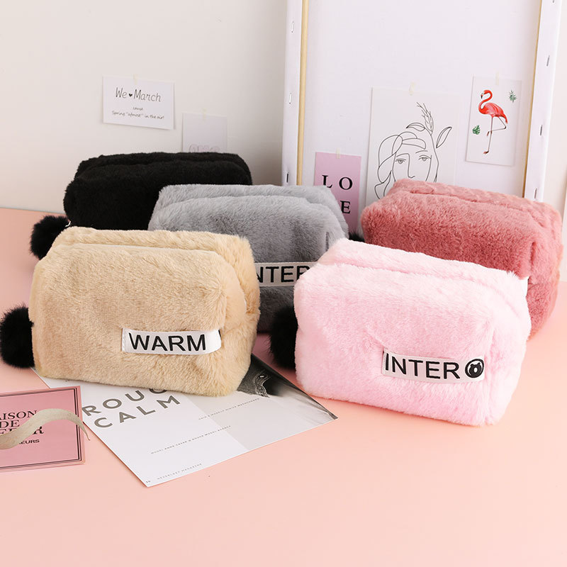 Winter Fur Cosmetic Bag Large Capacity Storage Bag Travel Multi-function Girl Plush Cosmetic Bag Fur Ball Decoration 25*11*12cm