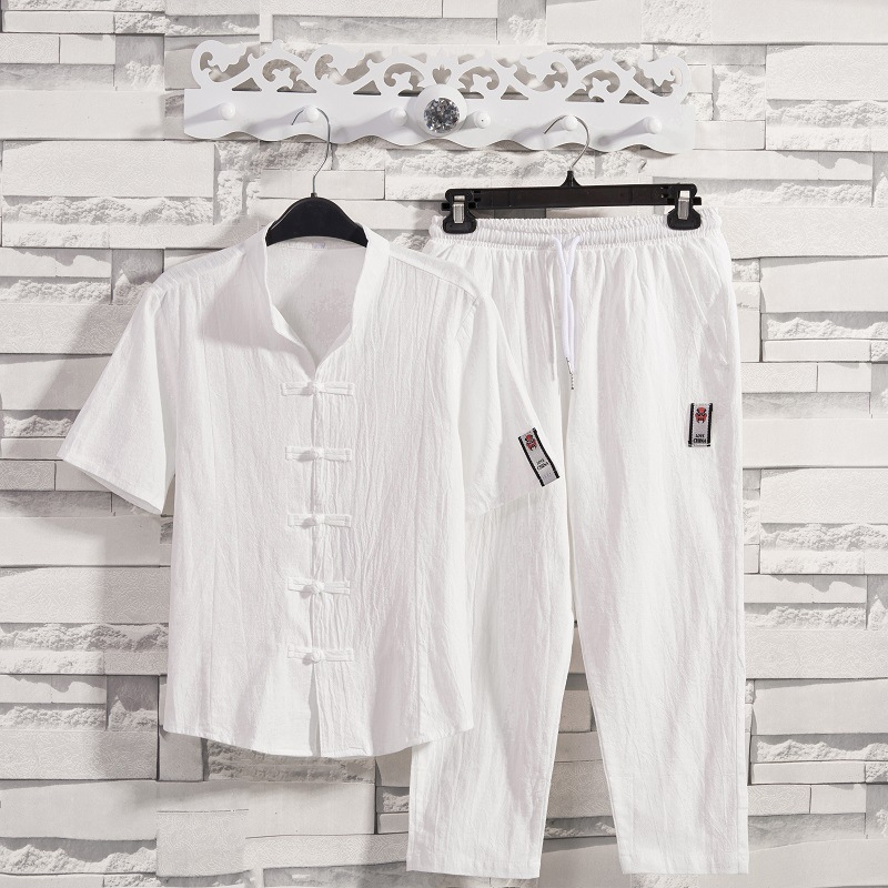 2019 Summer New Style Cotton Linen Set Men's Chinese-style Flax Frog Cardigan Short-sleeved Shirt Capri Pants Two-Piece Set