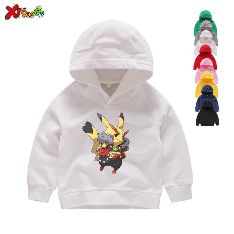 Boys Pokemon Pikachu  Pocket Zip Up Hoodie Jacket Sweatshirt  O11