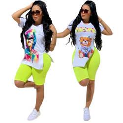 2019 летняя Европейская и американская Женская Повседневная простая футболка с двумя сторонами и принтом пять штанов два комплекта