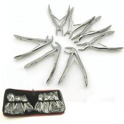 7 pçs de aço inoxidável dental pinça extração dente das crianças kit alicate forcep ortodôntico instrumentos de laboratório dental ferramentas
