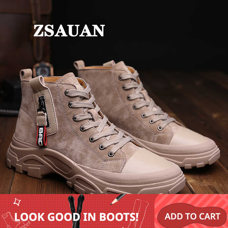 ZSAUAN Khaki Black Men Casual Leather Boots High Top Ankle Young Men Trendy Boots Leisure Korea Style Thick Sole Shoes
