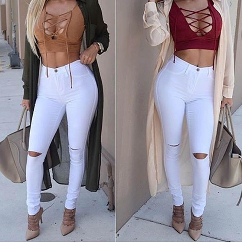 Women's Destroyed Ripped Jeans High Waist Slim Denim Long Pants Hole Boyfriend Jeans White Black Solid Trousers