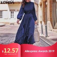 Осеннее платье VONDA в горошек, винтажный комбинезон, летнее платье, Пляжное Платье, женское вечернее платье, женский сексуальный сарафан