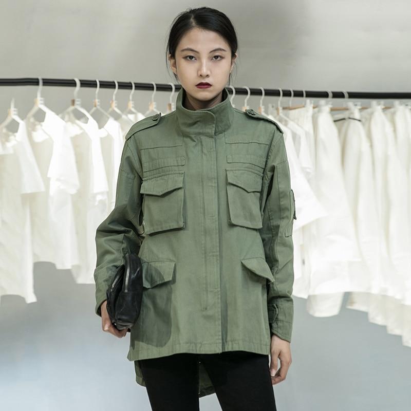 [EAM] Loose Fit Back Irregular Two Ways Wear Big Size Jacket New Lapel Long Sleeve Women Coat Fashion Spring Autumn 2020 1DA902 4