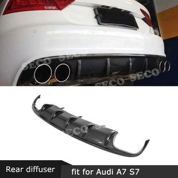 For Audi A7 S7 Sline Sport 2012- 2018 Carbon Fiber Rear Bumper Lip Diffuser Spoiler Car Styling