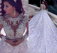 2020 Luxury Beading Long Sleeve Muslim Wedding Dresses With Long Train Sequined Lace Arabic Bridal Gown Turke Robe De Mariage