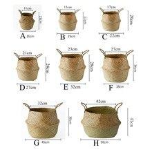 LuanQI Seagrass Vannerie Rotin Panier De Rangement Plantation Fleur Pot Pliant Vêtements Panier À Linge Maison Jardin Ventre Mimbre