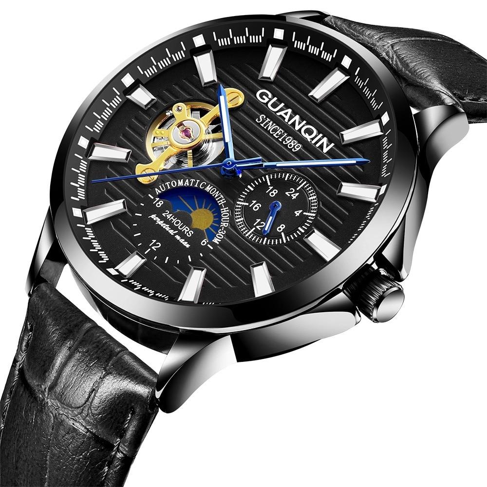H9f3a9562c82c4777b22ce12b445a20f3o GUANQIN 2019 automatic watch clock men waterproof stainless steel mechanical top brand luxury skeleton watch relogio masculino