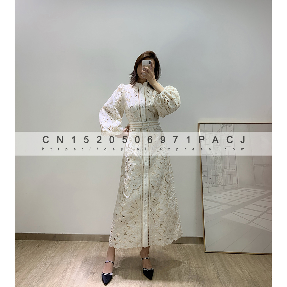 Dress Linen ZM Two-Piece with Belt-Goddess Temperament Embroidery-Lantern-Sleeve Exquisite