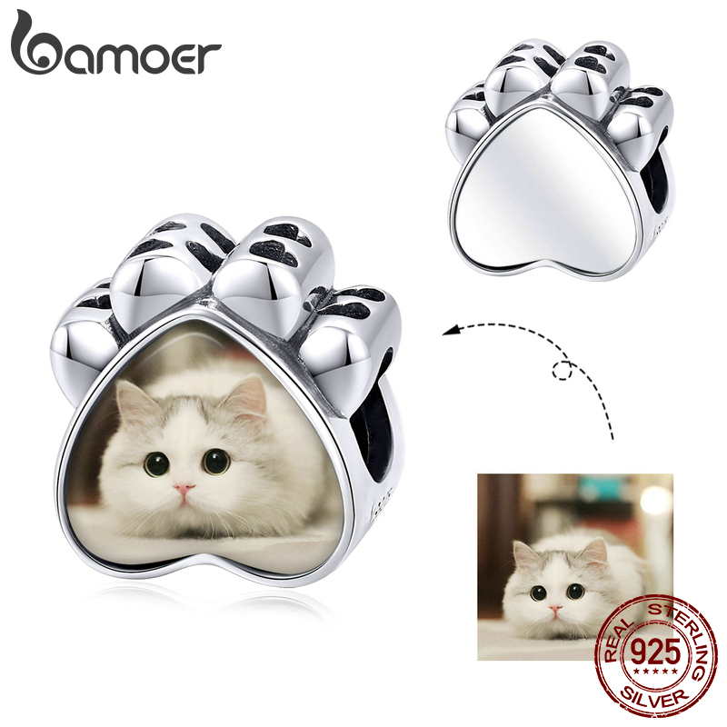 Bamoer Customized DIY Beads Custom Photo Charm For Bracelet & Bangle 925 Sterling Silver Paw Beads Memory Jewelry SCC1436