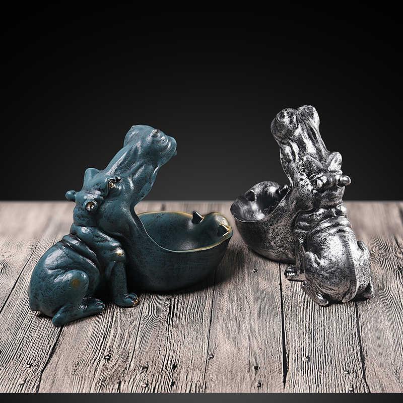 VILEAD-Figurines hippopotame en résine, 22cm, porte-clé, décoration de bureau, accessoires pour la maison, porche, télécommande, rangement, ornement d'animaux, cadeau