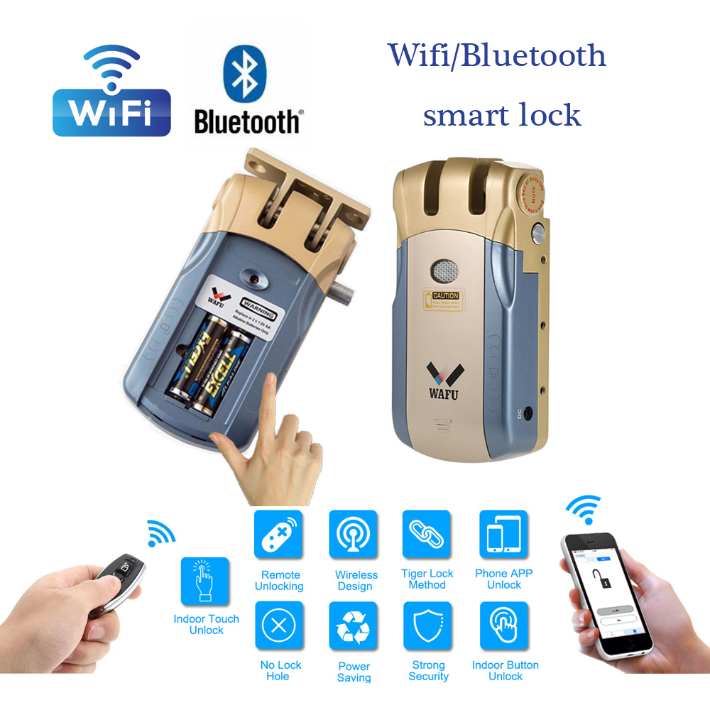 Wafu HF-010 Wifi APP Smart Lock Wireless Electronic Door Lock Phone Control Invisible Lock Remote Control Indoor Touch Locks