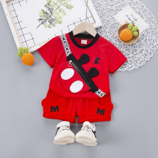 Mickey Minnie Baby Boys Clothes Summer Children Suits Cartoon Baby Boy Clothing Sets t shirt+short pants 2pcs outfits Kids set 1