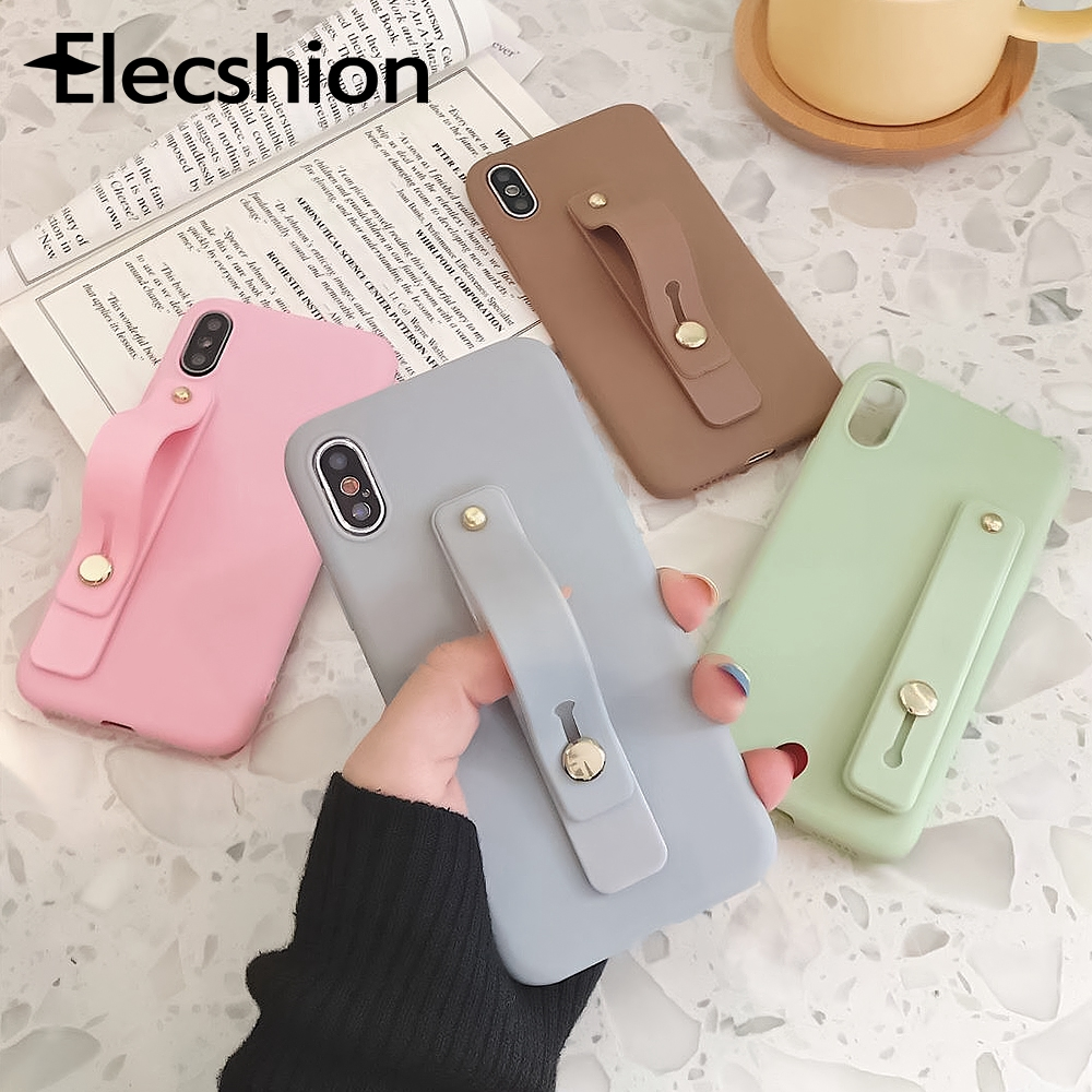 Candy Color Silicone Phone Stand Wrist Strap Holder Metal Push Pull Grip Holder For Samsung Matte Finger Ring Bracket For IPhone