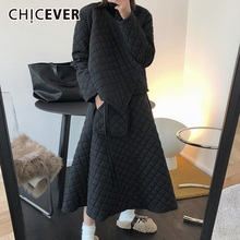 CHICEVER Plaid Two Piece Set For Women O Neck Long Sleeve Casual Cotton Coat High Waist Mid Skirts Fall Sets Female 2020 Clothes