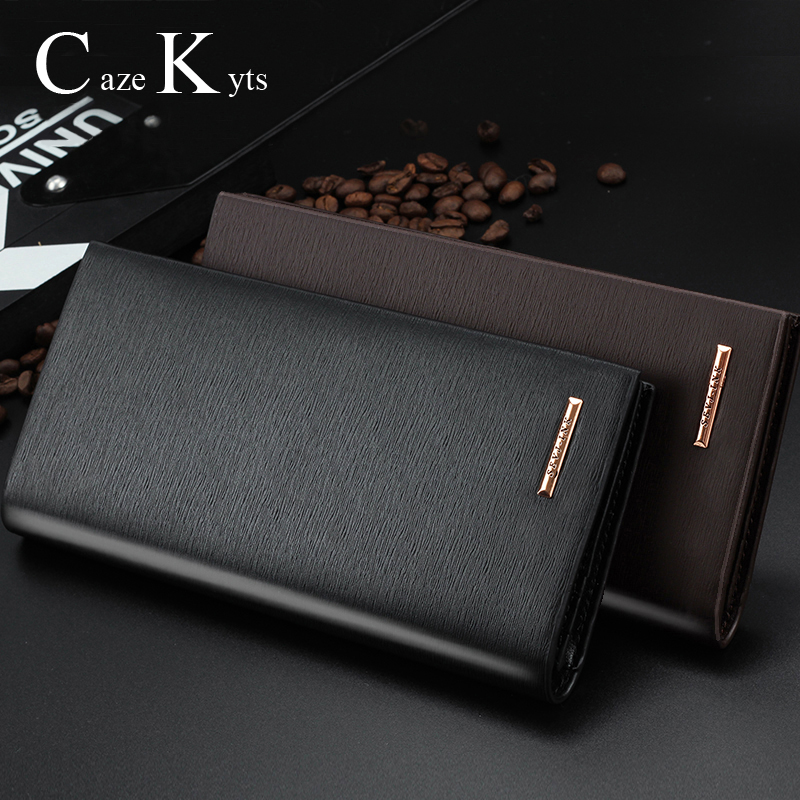 New Men Wallets Long Genuine Leather Fashion Business Purse Slim Wallet Designer For Cilp Money Holder Wallets Free Shipping