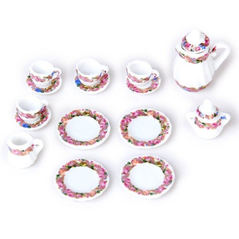 15pcs Doll House Miniature Porcelain Tea Set Dish+Cup+Plate - Colorful Floral Print