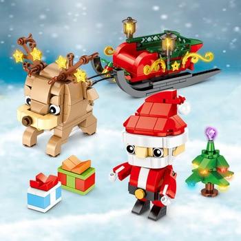 Pueblo de invierno creador de ciudades alce de Navidad Santa Claus brickhead DIY bloques de construcción juguetes regalos de navidad