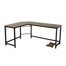 Computer-Desk Corner-Table Desktop Office L-Shaped Brown Industrial Home And Assemble