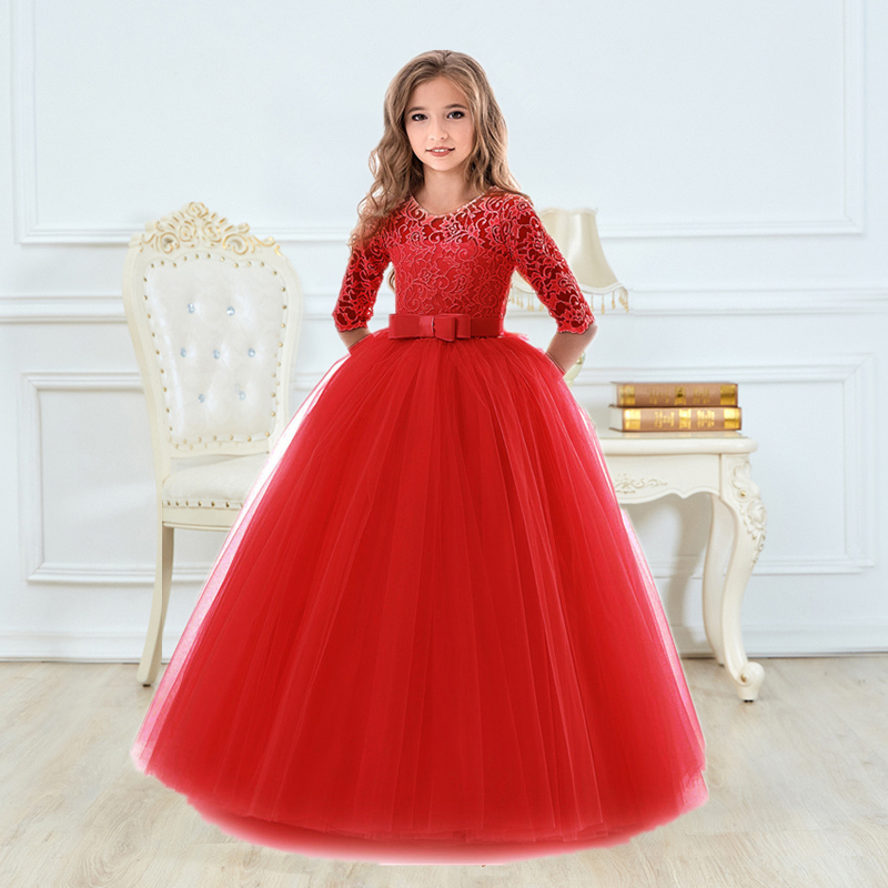 Girls Ceremony Dress for Wedding and Party Gown Exquisite Communion Luxury Princess Dress Elegant Lace Girls New Year Costume 2