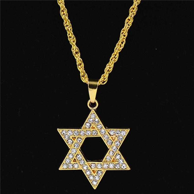 1 шт., шестиконечная звезда, кулон, ожерелье, блестящий циркон, кулон, цепочка, ожерелье для женщин и мужчин, хип хоп, модные ювелирные изделия, Прямая поставка, новинка|Ожерелья с подвеской|   | АлиЭкспресс