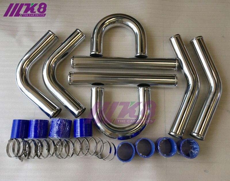 "Universal Aluminum 2.5/"" 64mm Intercooler Turbo Piping Pipe Kit BLACK Hose Kits"