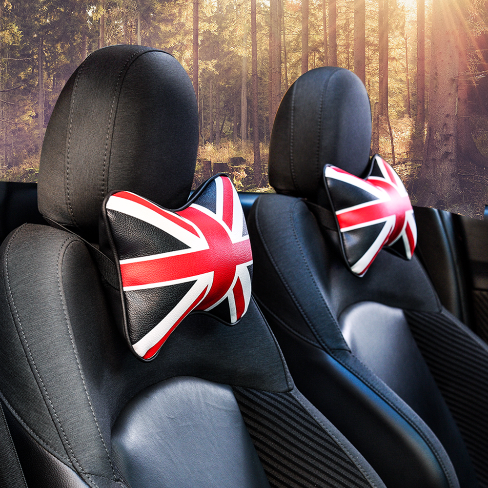 Car Neck Pillow For BMW MINI Cooper PU Leather Headrest Fit For Universal Car Neck Rest Cushion Pad Auto Accessories