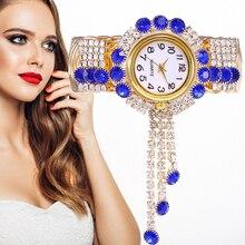 gold Jewelry Ladies Wrist Watches Women Bracelet Rhinestones