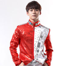 New Mirror Dress For Men Show Costume Red Sequin Coat DJ Costume Stage Wear Male Nightclub Rock Punk Clothing Rave BL2113(China)