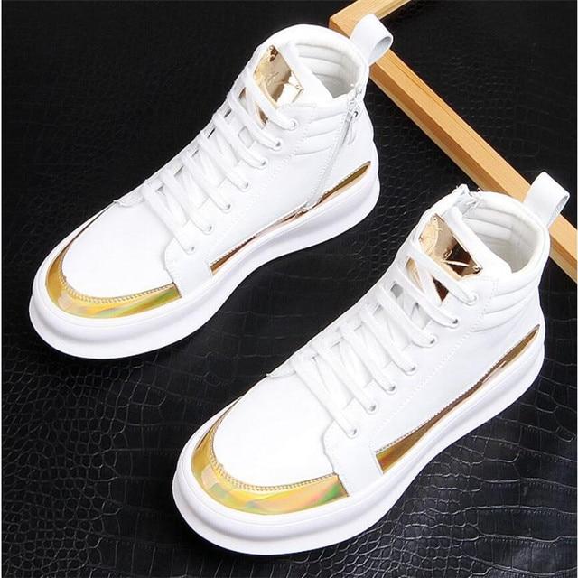 Zapatillas de deporte de lujo para hombre, zapatos altos informales de microfibra, botas de cuero, a la moda, primavera y otoño, novedad de 2020 2