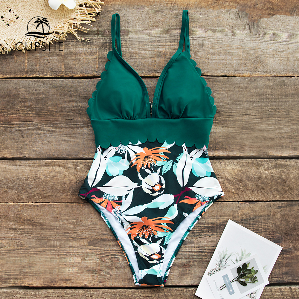 CUPSHE Teal and Floral Scalloped One-Piece Swimsuit Sexy V-neck Women Monokini 2019 Girl Beach Bathing Suit Swimwear 2