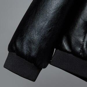 Image 4 - Chaqueta de cuero para hombre, abrigo con cuello de soporte, primavera y otoño, informal, ajustada, gran cremallera de PU, 8XL