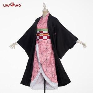 Image 5 - In stock Uwowo Anime Costume Demon Slayer Cosplay Nezuko Kimono  Costume Women Kimetsu no Yaiba Women Pink Kimono Halloween