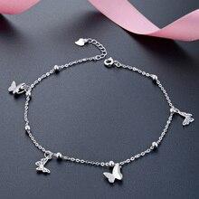 Borboleta pé corrente pé perna pulseira prata 925 bonito prata tornozeleira jóias s925 tornozeleira pulseira comprimento ajustável aniversário gif