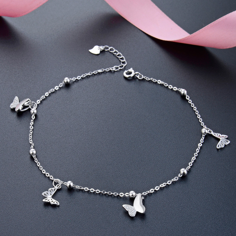Butterfly Foot Chain foot leg bracelet silver 925 Cute Silver Anklet Jewelry S925 Anklet Bracelet Adjustable Length Birthday Gif