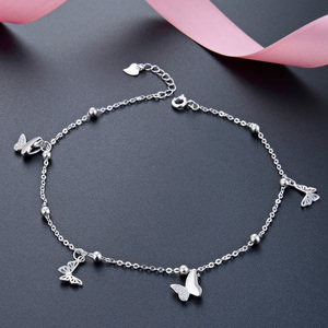 Image 1 - Butterfly Foot Chain foot leg bracelet silver 925 Cute Silver Anklet Jewelry S925 Anklet Bracelet Adjustable Length Birthday Gif