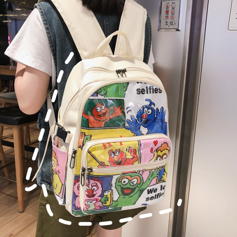 US $17.94 46% OFF|Harajuku Cartoon Animals Backpacks Cute Teenager Girl