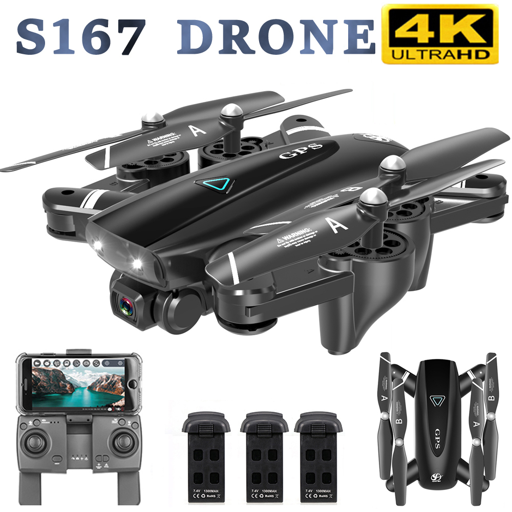 S167 GPS RC Drone With Camera 4K 5G WIFI FPV Camera Drone Way-point Flying Gesture Photos Foldable RC Quadcopter Helicopters Toy